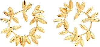 Oscar De La Renta Leaf hoop earrings