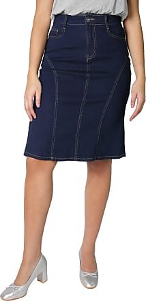 Krisp 2117-NVY-08: Panelled Regular A-Line Denim Skirt