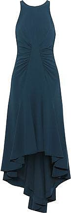 Halston Heritage Halston Heritage Woman Asymmetric Stretch-crepe Midi Dress Storm Blue Size 10