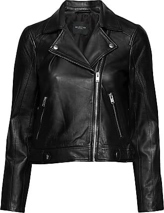 Selected Slfkatie Leather Jacket B Noos Läderjacka Skinnjacka Svart Selected Femme