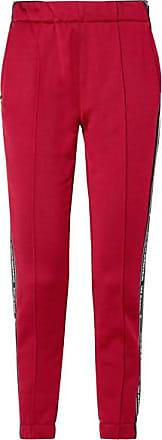 T Alexander Wang Striped Cotton-blend Satin Track Pants - Burgundy