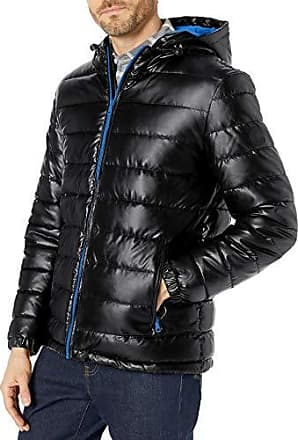 Cole Haan Signature Mens Faux Down Open Bottom Bomber with Detachable Hood