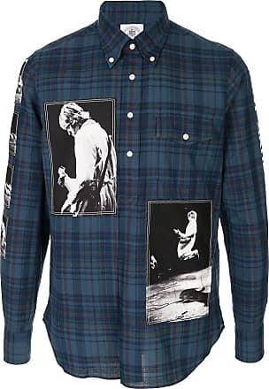 TAKAHIROMIYASHITA TheSoloist. Camisa xadrez com patch de logo - Azul