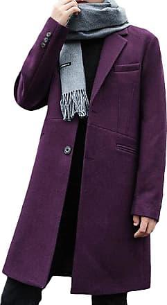 H&E Mens Woolen Blend Slim Fit Overcoat Lapel Outwear Pea Coat Purple S