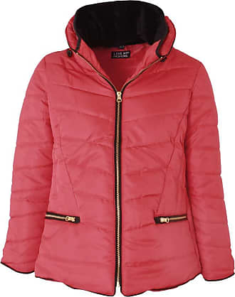 Love my Fashions Women Jacket Ladies Parka Padded Puffer Bubble Fur Fitted Collar Hood Quilted Curved Hem Long Sleeves Zip Up Cosy Warm Winter Knitted Coat Plus Size W