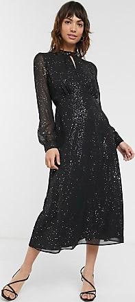Warehouse glitter foil midi dress in black