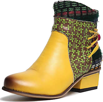 Vimisaoi Colorful Ankle Booties for Women, Bohemian Handmade Splicing Pattern Side Zipper Block Mid Heel Leather Boots