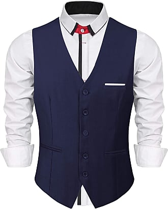 iClosam Mens Waistcoats Classic Paisley Vest Suit Set Slim Fit Formal Wedding Business Vest Blue