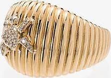 Yvonne Léon Womens 18k Yellow Gold Diamond Crab Ridge Ring