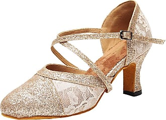 Find Nice Womens Practice Ballroom Dance Shoes Round Toe Low Heel Latin Salsa Party 7151 Gold 3.5 UK