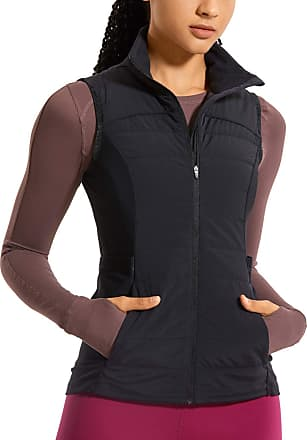 CRZ YOGA Womens Athletic Padded Vest Lightweight Full-Zip Sleeveless Jackets with Pockets Black 12