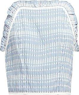 Staud Pearl Checked Ruffled Crop-top - Womens - Light Blue