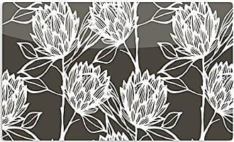 KESS InHouse Gill EgglestonProtea Graphite White Brown Flowers Artistic Aluminum Magnet, 2 by 3, Multicolor