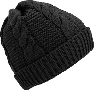 Universal Textiles Ladies/Womens Cable Knit Fleece Lined Winter Beanie Hat (One Size) (Black)