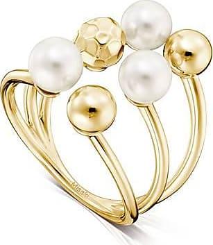Misaki Bague large Tenderly dorée avec perles blanches - taille 50
