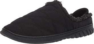 Dearfoams Womens Ethan Perforated Microsuede Moccasin with Tie Slipper, Black, Medium