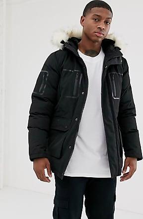 Religion parka jacket with detachable faux fur hood in black