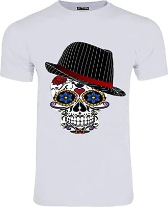 Be Jealous Mens Halloween Skull Hat Crew Neck Horror T Shirt Skull Hat White Large