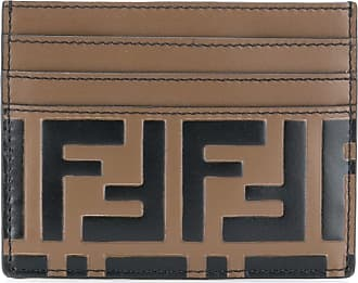 Fendi Porta-cartões com logo FF - Marrom