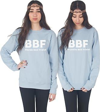 Sanfran Clothing Sanfran - BBF Blonde Brunette Best Friend Matching Besties Jumper Sweater - Medium & Small/Light Blue
