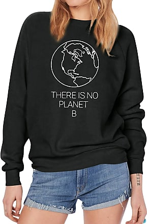 Dresswel Women There is No Planet B Sweatshirt Pullover Crew Neck Long Sleeve Tops Jumpers Blouse Black