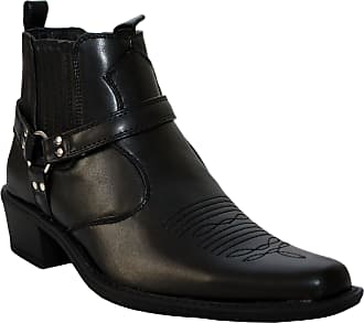US Brass Mens Eastwood Slip On Harness Twin Gusset Western Heel Cuban Ankle Heel Cowboy Boots UK Sizes 7-12 (UK 12, Black)