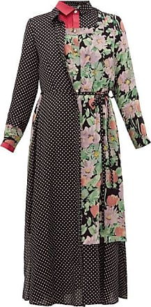 Junya Watanabe Ester Polka-dot And Floral-print Patchwork Dress - Womens - Black Multi