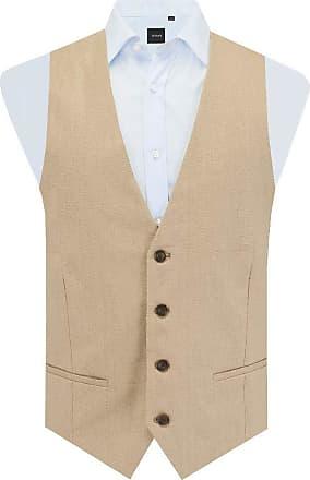 Dobell Mens Sand Suit Waistcoat Slim Fit 100% Linen 4 Button-XL (46-48in)