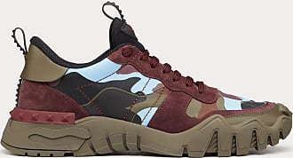 Valentino Garavani Valentino Garavani Uomo Camouflage Rockrunner Plus Sneaker Man Military Green/rubin Calfskin 100% 39.5