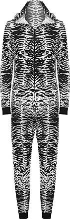 Islander Fashions Womens Printed Viscose Onesie Playsuit Jumpsuit Pajamas Zebra Print Medium (UK 12/14)