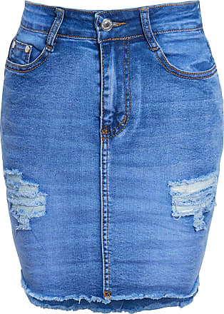 Shelikes Womens Ladies Ripped Distressed Frayed Summer Jeans Denim Short Mini Skirt[Blue UK 8]