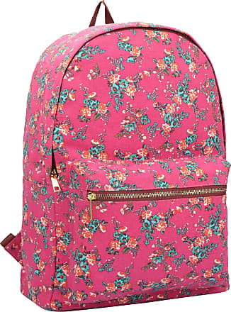 Quenchy London Ladies Backpack, Girls Casual Daypack Bag for School, Work or Hand Luggage Travel 20 Litre Size 39cm x32 x16 QL7161P (Pink Flower)
