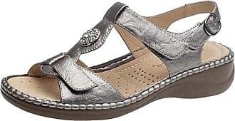 Boulevard Womens Velcro Comfort Sandals Shoes Pewter (6 UK)
