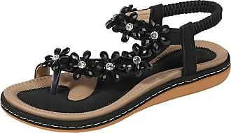 Zhuhaixmy Deylaying Womens Summer Flat Sandals Bohemia Elastic Slingbacks Flip Flops Shining Floral Rhinestones Slippers Black