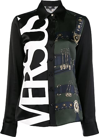 Versus side logo printed blouse - Black