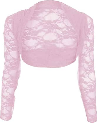 Top Fashion18 Womens Long Sleeve Lace Floral Ladies Cropped Short Shrug Bolero Cardigan Top 8-22 Dusty Pink