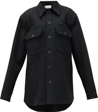 Raey Oversized Wool Army Shacket - Womens - Charcoal