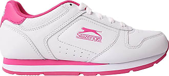 Slazenger Womens Classic Trainers Lace Up Padded Tongue Comfortable Fit Everyday White/Cerise UK 6 (39)
