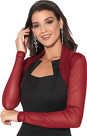 Krisp 7537-WIN-20: Ruched Long Sleeve Mesh Shrug