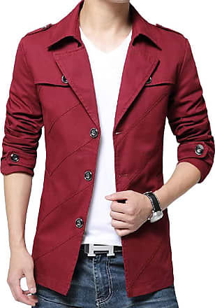 H&E Mens Slim Fit Business Outerwear Blazer Jacket Solid Color Trench Coats Wine Red XS