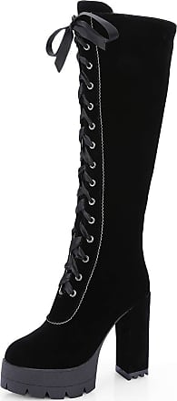Vimisaoi Womens Knee High Boots, Lace Up Chunky High Heels Platform Boots