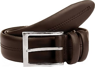 Dents Mens Double Keeper Leather Belt - Brown - Medium