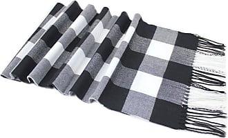 CJ Apparel Black & White Mens Large Checkered Pattern Design Fashion Knitted Scarf Scarves Wrap CJ Apparel NEW