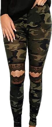 Hellomiko Womens High Waist Leopard Print Yoga Pants Knee Cutout Ripped Super Soft and Comfortable Skinny Leggings Green
