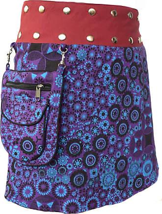Gheri Floral Short Popper Removable Pocket Reversible Cotton Skirt B