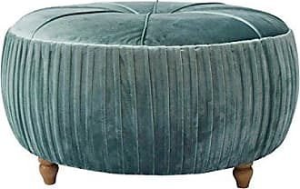 New Pacific Direct 1600007-185 Helena Velvet Round Ottoman Ottomans & Cubes, Emerald