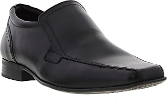 Ikon SAXON Mens Slip On Leather Chisel Toe Shoes Black UK 10