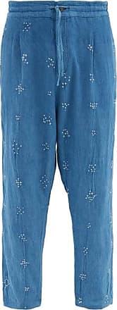 11.11 / eleven eleven 11.11 / Eleven Eleven - Wide-leg Bandhani-cotton Trousers - Mens - Light Blue