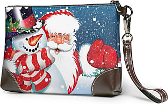 GLGFashion Womens Leather Wristlet Clutch Wallet Merry Christmas Snowman Santa Claus Storage Purse With Strap Zipper Pouch