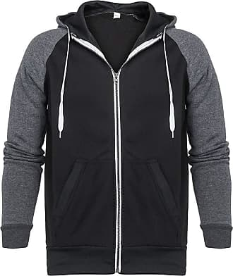 NPRADLA Men Splicing Zipper Pullover Long Sleeve Cotton Soft Comfortable Hooded Sweatshirt Tops Blouse Black